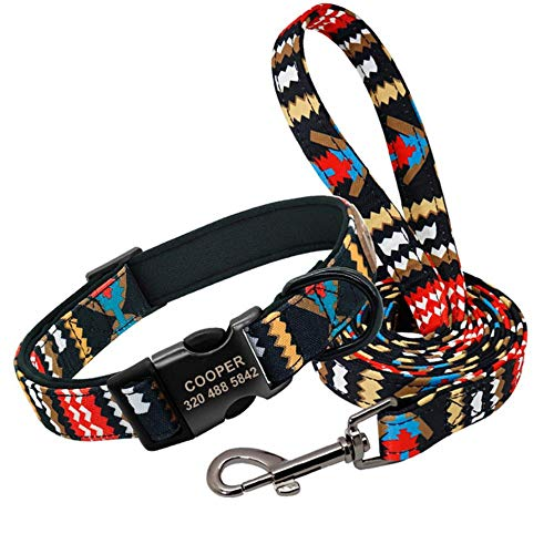 Perro Collar Correa Regalo Collar De Perro Personalizado Con Correa Collares De Identificación Personalizados De Nylon Correa Estampada Colorida Para Perros Para Perros Pequeños Medianos Grandes, Set