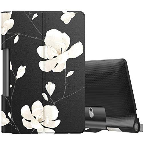 MoKo Hülle für Lenovo Yoga Smart Tab 10.1 (YT-X705F), Ultra Slim PU Leder Tasche Schutzhülle Standfunktion für Lenovo Yoga Smart Tab 10.1(YT-X705F) Tablet - Schwarze & Weiße Magnolie