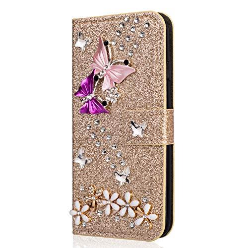 Miagon Hülle Glitzer für Samsung Galaxy A11,Diamant Strass Schmetterling Blume PU Leder Handyhülle Ständer Funktion Schutzhülle Brieftasche Cover,Gold