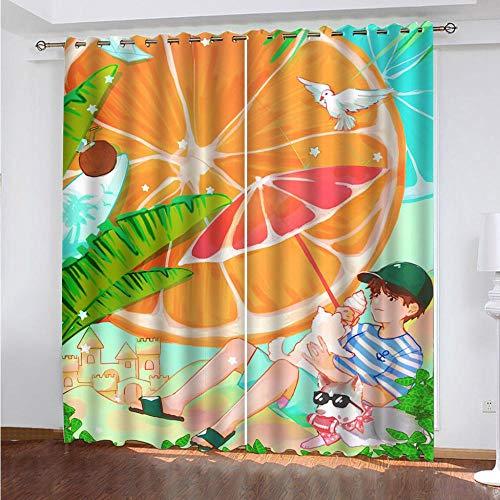 CLYDX Vorhang Abdunkelung Sommerorangen Blickdicht Ösen Gardinen 2Er-Set Muster Gardine für Wohnzimmer Kinderzimmer Schlafzimmer Verdunkelungsgardinen 2X 75x166 cm (BxH)