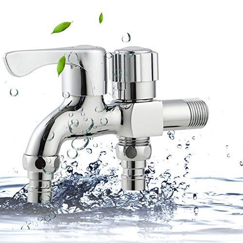 YSHtanj Kupfer-Wasserhahn mit 2 Ausgängen für Waschmaschine, Badezimmer, Garten, Wasserhahn, silberfarben