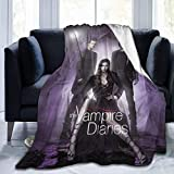 Novelty Throw Blanket, The V-Ampire D-Iaries Cozy Flannel Bed Blanket, Lightweight Anti-Pilling Fuzzy Blanket for Fall Winter Living Room Bedroom Couch Sofa Indoor Travel Gift 50X40 in