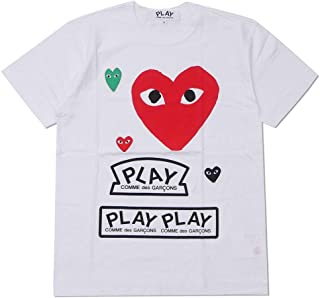 [PLAY COMME des GARCONS(プレイ コムデギャルソン)] MENS Multiple Heart Printed S/S T-Shirt Tシャツ WHITExRED