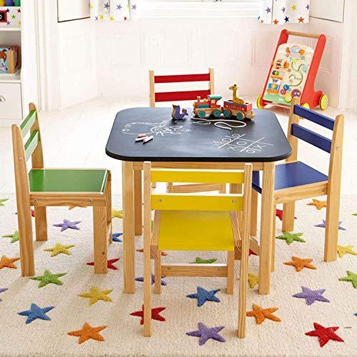 Conjunto de mesa y silla de madera para niños con mesa superior de pizarra con 4 sillas y juego de muebles para niñas y niños