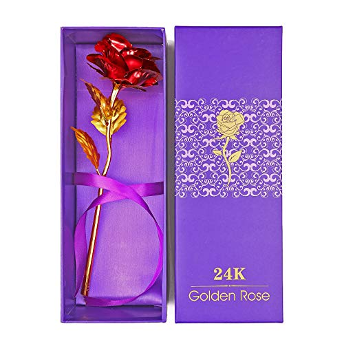 Rosa Flor 24 quilates de chapada oro de ,Tendlife eterna plástico de alto grado Rosa roja, día de la madre, día de San Valentín, celebración romántica de la el Día de Acción de Gracias