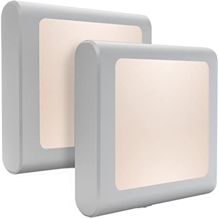 MAZ-TEK Plug-In Led Night Light with Auto Dusk to Dawn Sensor,Adjustable brightness Warm White lights for Hallway,Bedroom, kids Room, Kitchen, Stairway, 2 Pack