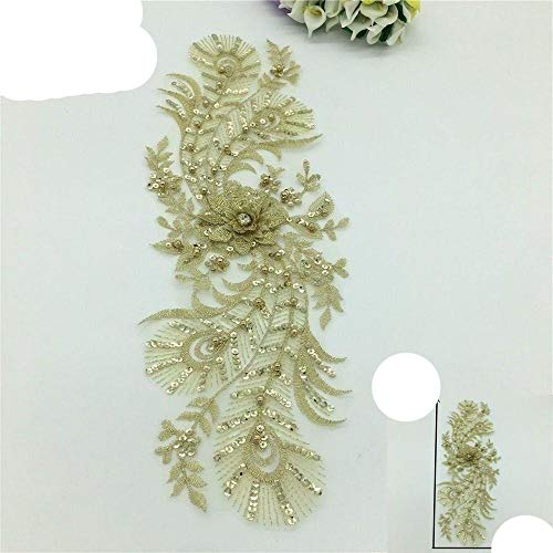 Hochwertige Goldstickerei 3D Flower Lace Collar Nähen Strass Lace Neckline DIY Applique Pailletten Craft Dress Zubehör-Standard