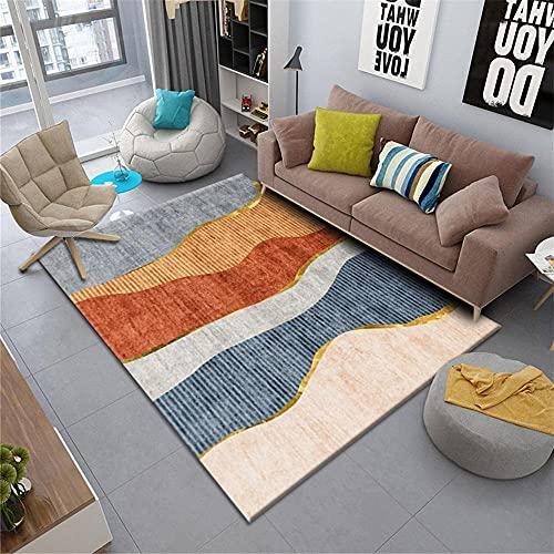 Kunsen habitacion Juvenil Alfombra Dormitorio Alfombra de Sala de Estar Rectangular Naranja Rosa Azul Gris cómodo y Duradero Alfombra de Juegos 140X200CM 4ft 7.1' X6ft 6.7'