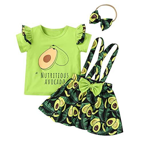 Camiseta de manga corta con aguacate+arco tirante aguacadoSkirt+diadema verano niña vestido ropa