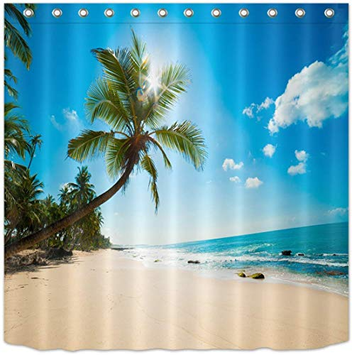 MMPTn Hawaii-Stil Strand Küste Duschvorhang, Blaue Wellen am Meer, Palm Tree Vacation Print Strandszene Duschvorhang 71 x 71 Zoll wasserdichtes Gewebe mit zwölf Kunststoffhaken