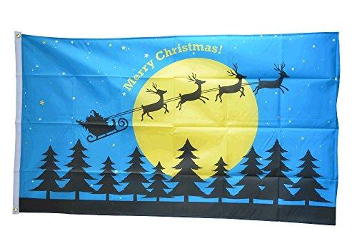 Flaggenfritze® Flagge Merry Christmas Rentiere mit Schlitten und Mond - 90 x 150 cm