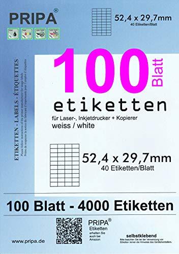 2000 Etiketten 52,4 x 29,7 mm Blatt weiß auf DIN A4