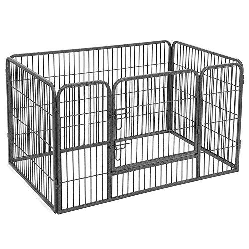 FEANDREA Recinto Recinzione per Cani Cuccioli roditori Animali Rete Gabbia di Ferro Grigio 119 x 77 x 70 cm PPK74G