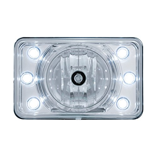 """United Pacific 31376 4"""" X 6"""" Crystal Reflector Headlight With Led Position Light - High Beam Only"""