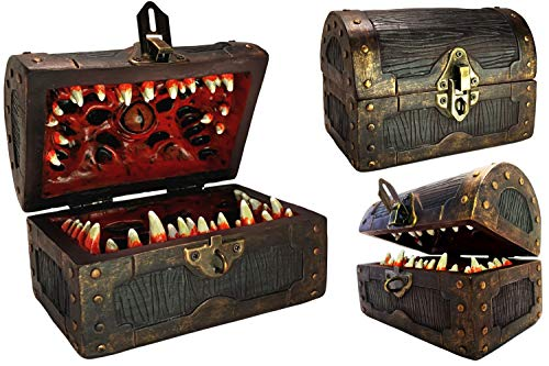 Conjurer Co Mimic Chest Dice Storage Box | DND Lockable Vault | Gift for Dungeons & Dragons Players, Dungeon Master/DM or RPG Gaming | D & D Holder Case | Holds 4 Sets of Polyhedral Dice or 28 Die