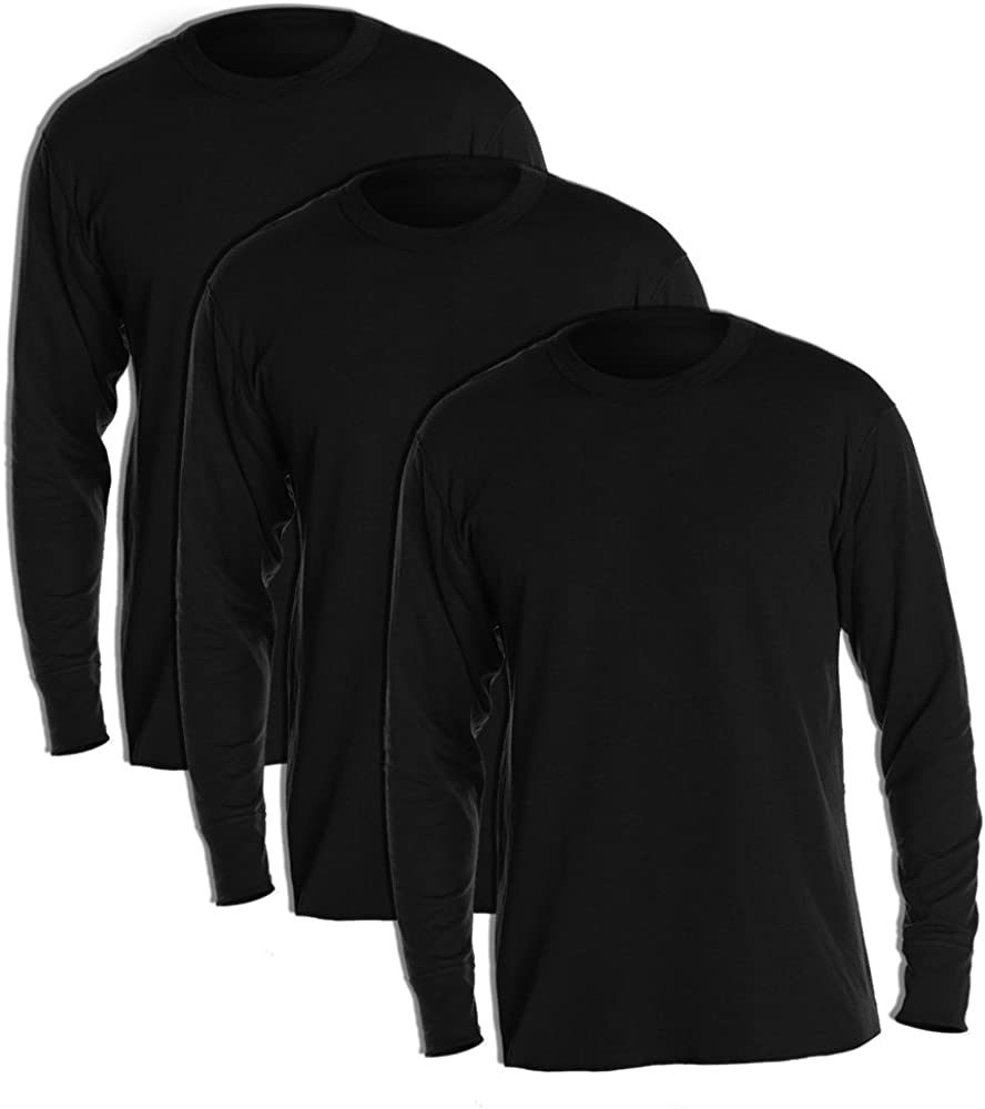 Duofold KMW1 Men's Midweight Thermal Crew Black (Pack of 3)