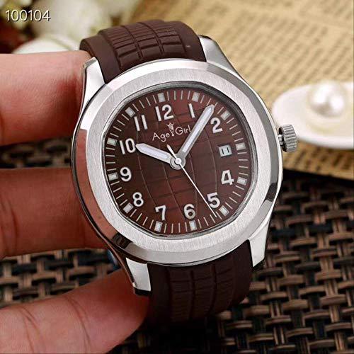 GFDSA Herren Automatik Mechanische Uhr Silber Schwarz Blau Gummi Saphirglas Rückseite Limited Sport Gent Uhren Brauner Kaffee