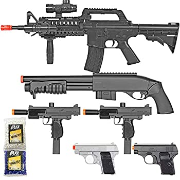 BBTac Airsoft Gun Package - Black Ops - Collection of Airsoft Guns - Powerful Spring Rifle Shotgun Two SMG Mini Pistols and BB Pellets Great for Starter Pack Game Play