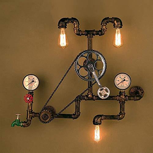 CHOUCHOU Apliques Pared LED Tubo de Agua 3 Hierro Creativo Bronce Fuente de luz Retro Dormitorio Salón Comedor Estudio Pared del Sitio de la lámpara/lámpara