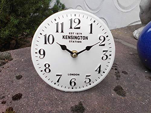 Deko-Impression Kleine Standuhr Kensington Station aus Metall 15 cm weiß