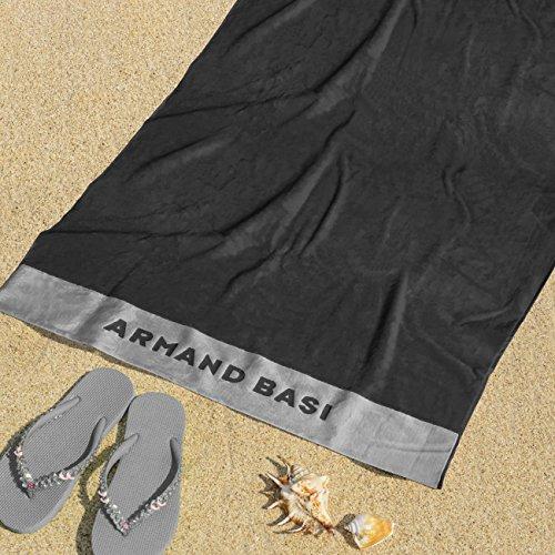 Burrito Blanco Armand Basi Toalla de Playa/Toalla de Piscina 62 Grande Lisa Algodón 100% con Tacto de Terciopelo Rectangular de 100x180 cm, Gris Oscuro