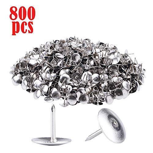 800 Pack Steel Thumb Tacks,Sliver Thumb Tack Flat Head Push Pin, Push Pins for Cork Board, Push Pins for Wall, Office Thumbtack for Home, School