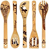 5 PCS Bamboo Spoons Cooking and Serving Utensils Set - Magic Pattern Burned Wooden Spoon Spatulas Kitchen Utensil Perfect Gift For Chefs & Foodies