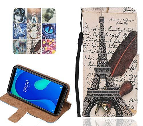 Langlee Kompatibel mit Wiko Jerry 3 Hülle, PU Ledercase Flip Schutzhülle Tasche Magnetverschluss Handyhülle Standfunktion (Muster A-10)