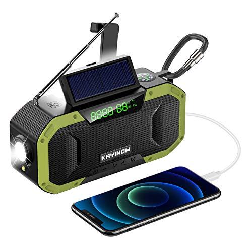 LAMA Radio solar Bluetooth 5.0 altavoz con pantalla LED 5000 mAh Radio de emergencia BT TF AM FM manivela radio resistente al agua Radio nostálgica con LED SOS, alarma brújula para senderismo, camping