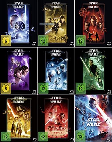Star Wars 1 - 9 Komplett (Dunkle Bedrohung - Aufstieg Skywalkers) [9er Blu-ray-Set] Kein Box-Set