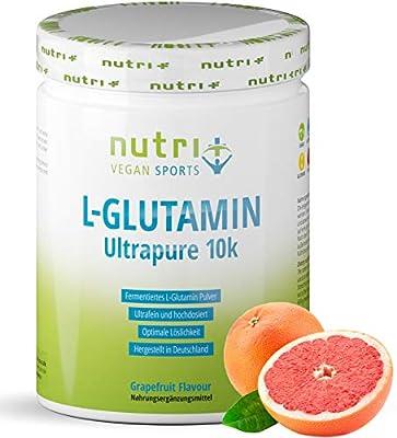 L-Glutamine Powder with Taste - 500g Grapefruit Powder - 99,95% Pure - high Dosage - Sensationally Delicious - Nutri-Plus Ultrapure L-Glutamine