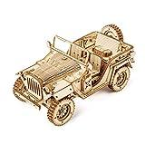 ODPWD Puzzles 3D, Juegos educativos/Rompecabezas de Madera del Tren del Vapor Jeep Tilo Material de protección/Racing/Camiones/Ambiental para niños y Adultos,D