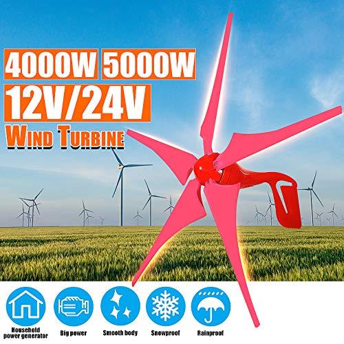 TQ 4000W / 5000W 12V 24V Windgenerator Windkraftanlagen 5 Wind Blade-Windmühle Energie Generator Free-Laderegler-Geschenk-Set,Rot,12v