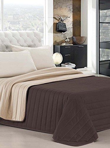 ELEGANT Italian Bed Linen Couvre-lit d'été 260 x 270 cm Marron/crème