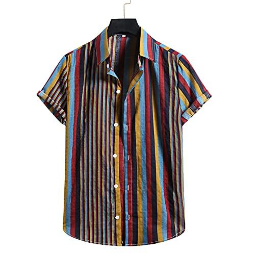Hawaii Camisa Hombre Verano Regular Fit Hombre Correr Shirt Moda Estampado Manga Corta Playa Shirt Cuello V Henley Camisa Transpirable Secado Rápido Deportiva Camisa D-004 XL