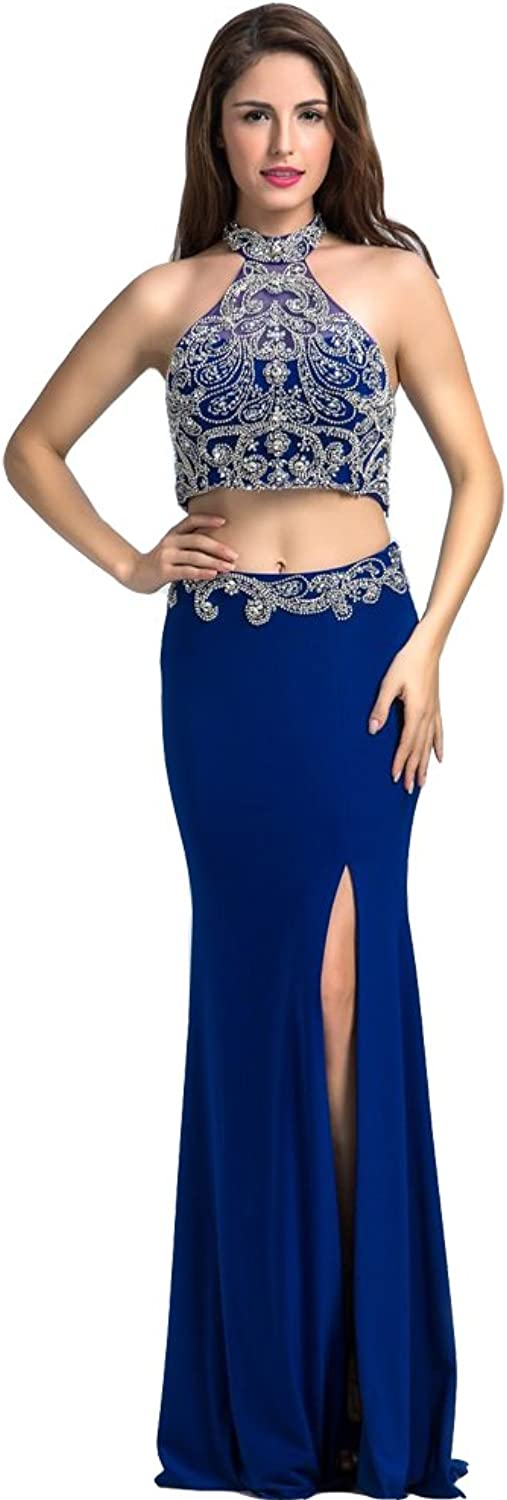 Lemai Royal bluee Two Pieces Crystals Beaded Mermaid Formal Prom Evening Dresses