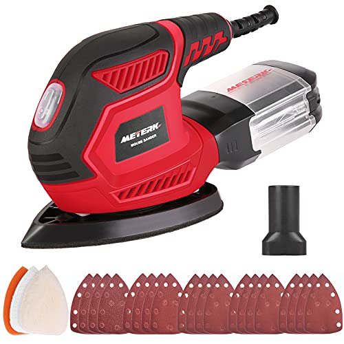 Mouse Detail Sander, Meterk 1.6A 14000 OPM Compact Sander Efficient Dust Collection System with 3pcs Polishing Pads & 20pcs Sandpapers for Tight Spaces Sanding/Polishing in Home Decoration & DIY