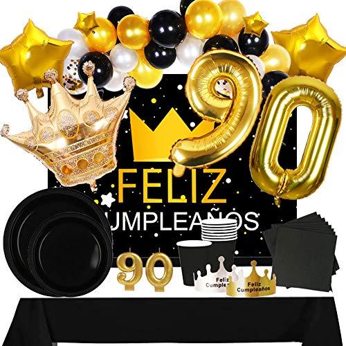Fiesta Cotigo Pack de Artículos para Fiesta Cumpleaños Número 90-Decoración de Globos Cumpleaños,Set de Vajilla Desechable y Accesorios-Temática Negra y Dorada para Adultos Hombres y Mujeres