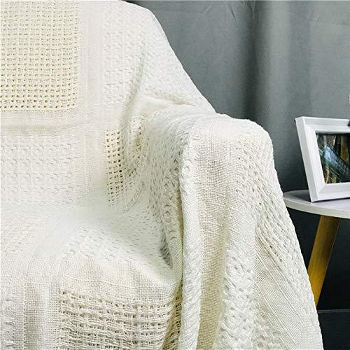Mantas para sofa, Cubierta de sofá de hilo de algodón Cubierta protectora Cubierta Casual Tapicería de pared Cubierta completa Sofá antideslizante Sofá Manta de punto estilo simple Manta con Mangas