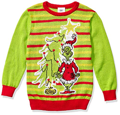 Dr. Seuss Boys' Ugly Christmas Sweater, Grinch/Lime, Large (12/14)