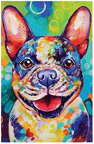 5D Dog Diamond Painting Kits- DIY Handmade Full Round Drill, Decorated On Wall For Home (13.8X17.7inch), Idea Gift For Sister, Wife, Colleague, Girlfriend, Mother Who Loves Puppy (Cute French Bulldog)
