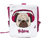Kinder-Rucksack mit Namen Victoria und schönem Motiv - Mops mit Kopfhörer und Schleife - in Pink für Mädchen   Rucksack   Backpack