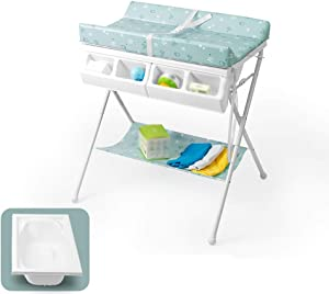 CWJ Small Bed Convenient for Look After Baby Without Bending Over  Baby Bath Diaper Organizer for Newborn with Bathtub and Storage Box Save Space Storage Desk