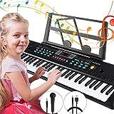 Teclado Piano 61 teclas, Magicfun Teclado de Piano Portátil, Teclado con soporte y música Micrófono, Juguete educativo Regalo para Niño Niña Principiantes (Negro) (#2)