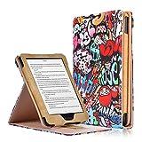 """Kobo Clara HD Cover - Custodia Flip Verticale in Pelle PU con Funzione Auto Sveglia/Sonno per Kobo Clara HD Touchscreen E-Book Readers (15.2 cm (6"""") Modello 2018, Graffiti"""