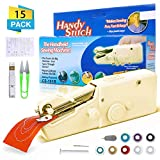 CAMTOA Handheld Sewing Machine, Mini Portable Cordless Sewing Machine, Quick Handy Electric Repairing Stitch Tool for Fabric, Clothing, Kids Cloth, Home Travel Use(Yellow)