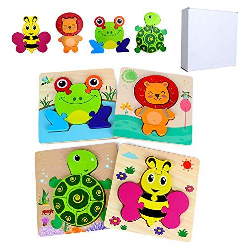 GUBOOM 4 Pcs Kinder Holzpuzzle, Lebendiger Hintergrund Steckpuzzle Holz Montessori Spielzeug, 3D Tier Puzzle Lernspielzeug, Kinderspielzeug ab 2, 3 Jahre, Geburtstag Kleine Geschenk für Kinder (B)