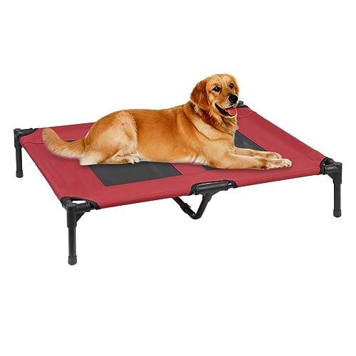 Homgrace Lit pour chiens surélevé et aéré pour animal domestique , lit pliant amovible pour chiens chats Lit Tendu Pliant pour Chien avec sac de transport M,L, XL 91,5 * 76,5 * 35 cm, charge de 30 kg (L)