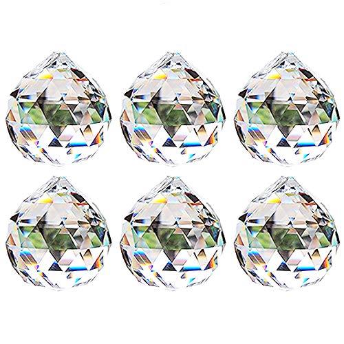 Nuptio 40mm Prisma de Bola Octogonal de Cristal Transparente 6 Piezas -...