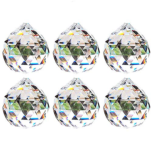 Nuptio 40mm Prisma de Bola Octogonal de Cristal Transparente - 6Pcs Qu